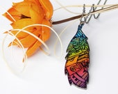Colorful Pendant – Multicolor Polymer Clay Necklace - Chestnut Leaf Pendant - Rainbow Necklace – Unique Jewelry - Gift for girls -