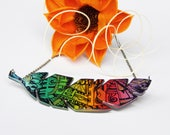 Multicolor Polymer Clay Necklace - Chestnut Leaf Pendant - Rainbow Necklace – Statement Colorful Pendant – Unique Jewelry - Valentine's Gift