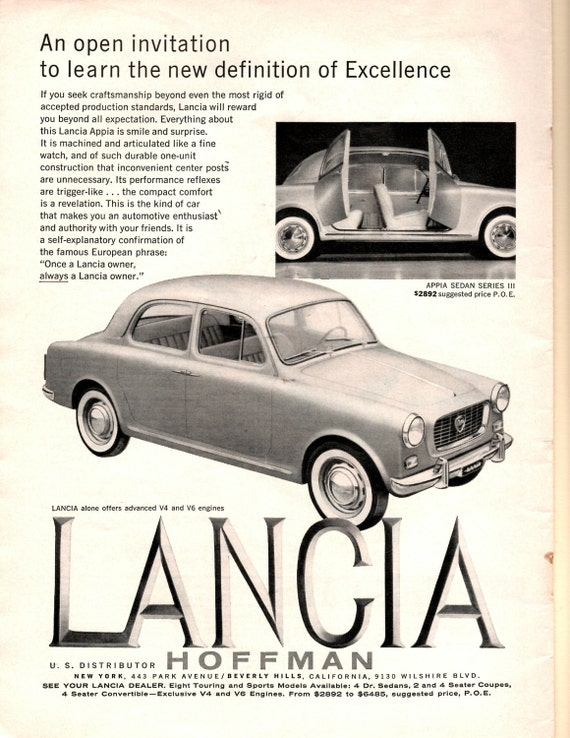 1960s lancia vintage magazine car ad print ad wall decor stopboris Choice Image