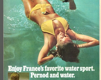"1970s Pernod 90 imported from France vintage magazine ad ""France's favorite water sport 1708"""