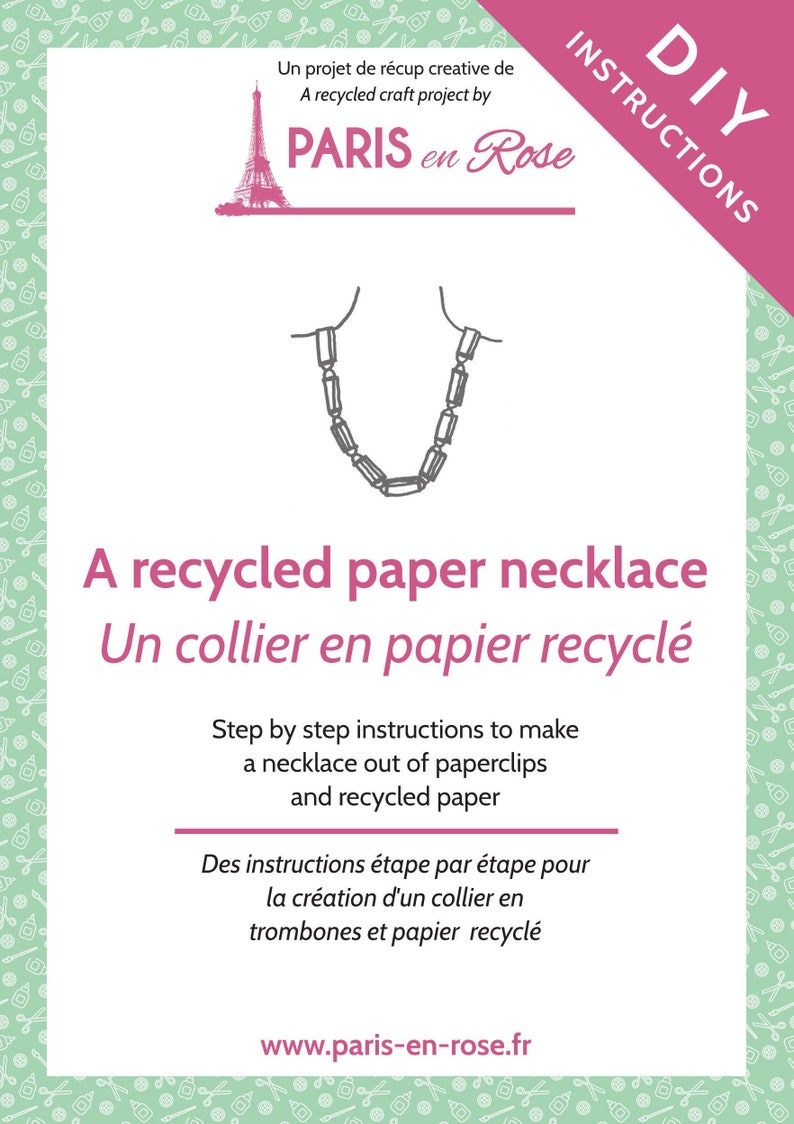 INSTRUCTION SHEET DOWNLOAD  necklace made from paperclips /& recycled paper step by step pdf instructions  folded paper origami diy project