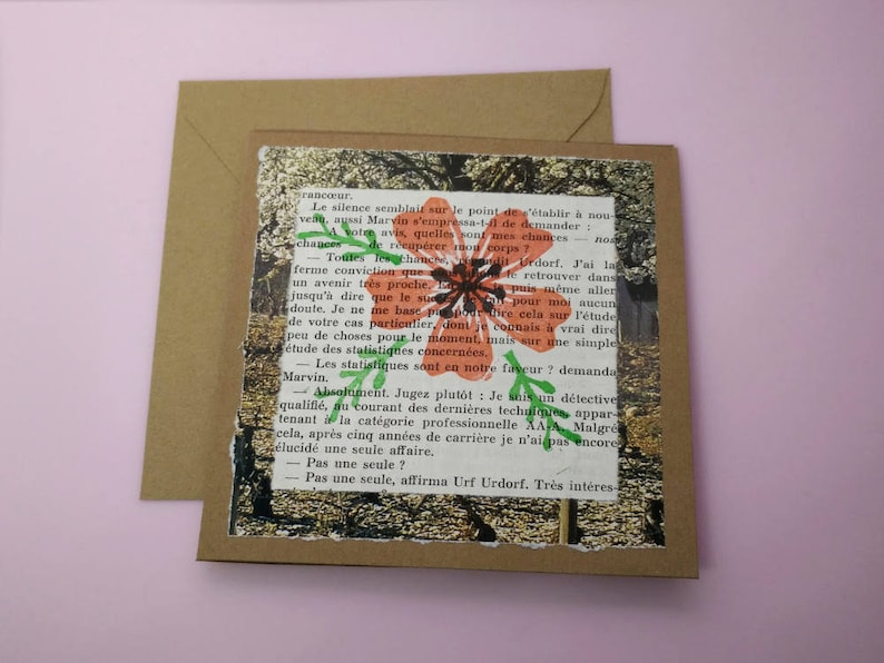 FLOWER CARD  floral greeting card  recycled paper hand stamped upcycled card for her  zero waste eco friendly gift  blank greeting card