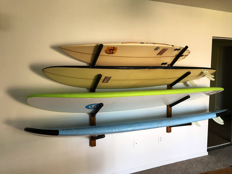 Surfboard Wall Hanger Holds 4 Surfboards Wood Rack | Etsy
