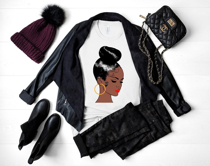 Featured listing image: Black Woman With Bun and Earring Short-Sleeve T-Shirt