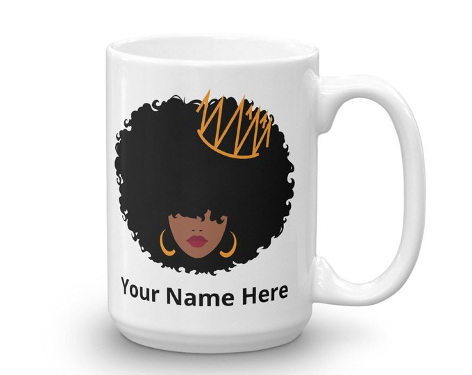 Featured listing image: Personalized/Black Queen/Afro Queen// Natural Hair/Mug/Cup
