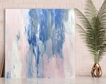 Abstract painting, original art, blue, pink, white, grey, textured painting, acrylic on canvas, original wall art, abstract art. 61cm square