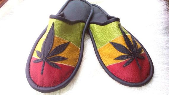 low priced 994c8 82565 Rasta Marihuana Leder Pantoffeln-Rasta Schuhe-Schuhe-Weed Cannabisblatt