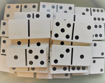 Vintage Distressed Large White Wood Domino set (28)
