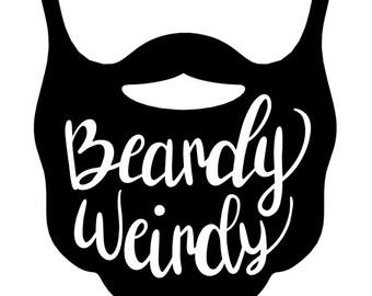 Beardy Weirdy Decal, Hipster Decal, I Love Beards, hipster beard, bushy beard, moustaches, goatees, soul patches, mutton chop, Vikings