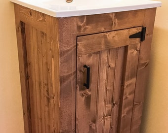 Bathroom Vanity - Rustic Small Wood Cabinet With New England Style Beadboard and Exposed Hinges, No Top, Completely Customizable