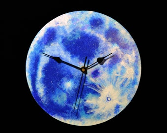 Full Moon wooden wall clock. Wood clock. Moon clock. Hand painted, handmade. Astronomy, planet, galaxy, night sky. Home decor. Gift.