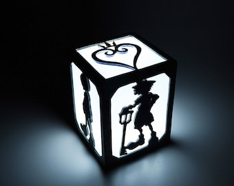 Light box of Kingdom Hearts. Lamp, decoration, illumination, wood. Game, videogame, gamer. Sora, Riku, Kairi. LED candle.