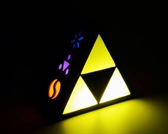 Ambient light of Triforce from Legend of Zelda. Decoration lamp, home decor, illumination, wood. Nintendo, link, game, videogame, geek.