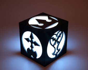 Light box of Kingdom Hearts. Lamp, decoration, home decor, illumination, wood. Game, videogame, gamer, geek. Heartless, Nobody. LED candle.