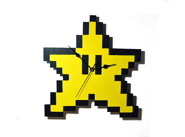 Wood wall clock of pixel Star of Super Mario Bros. 8 bit | Etsy