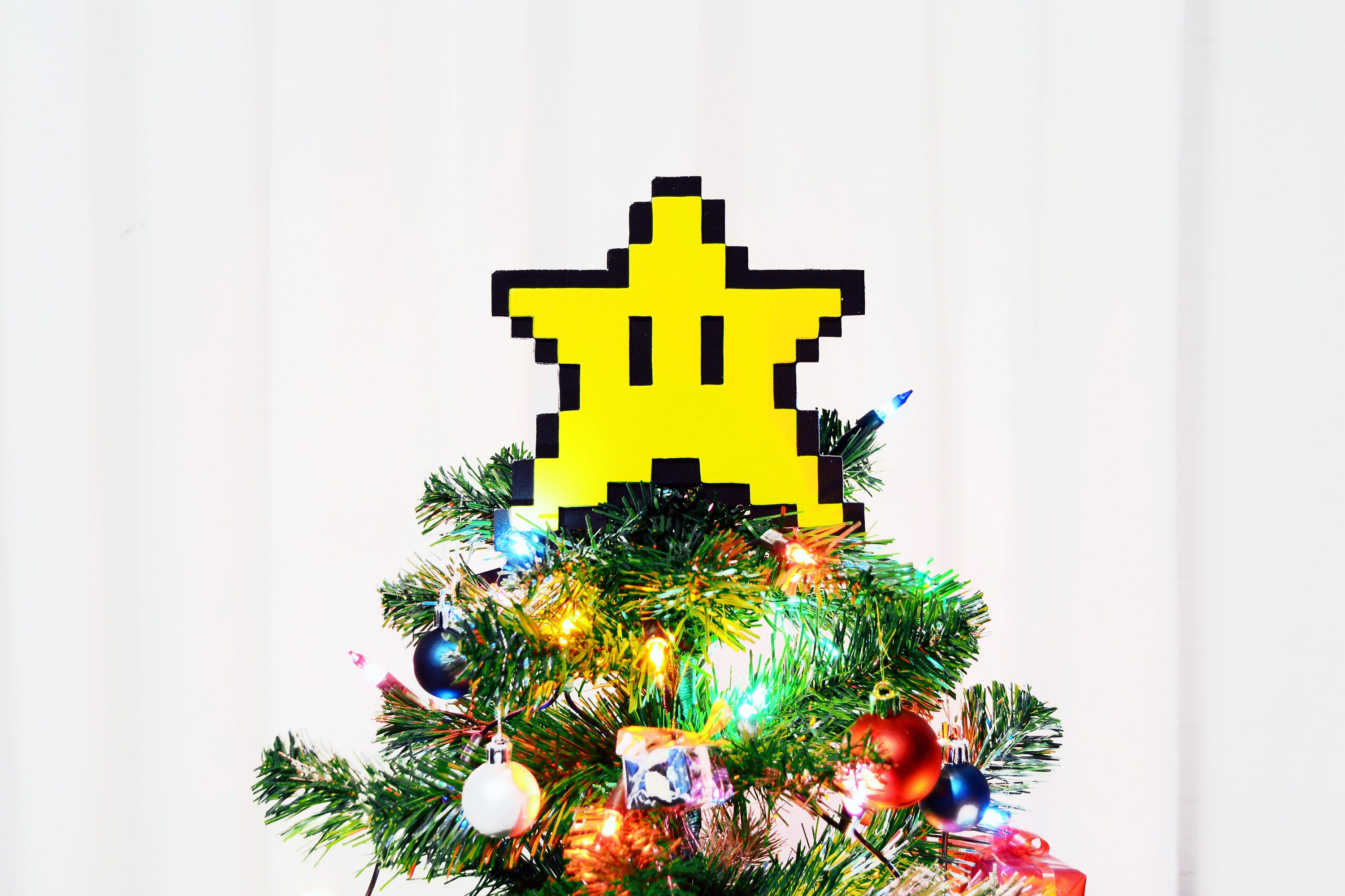 Christmas tree topper. Star Super Mario Bros. 8 bits pixel. | Etsy