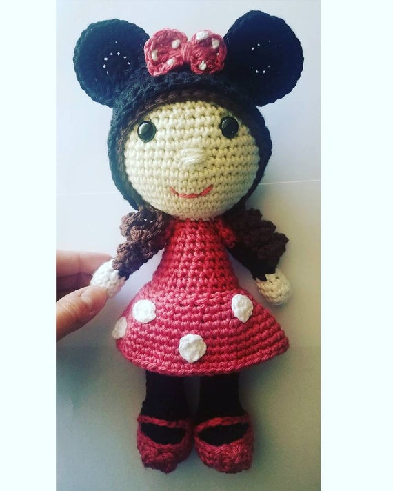 Crochet Minnie Mouse Doll Crochet Minnie Mouse Crochet Mouse Etsy