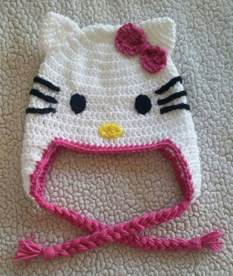 Crochet Hello Kitty Hat Cat Hat Girl Hats Handmade Gifts Etsy