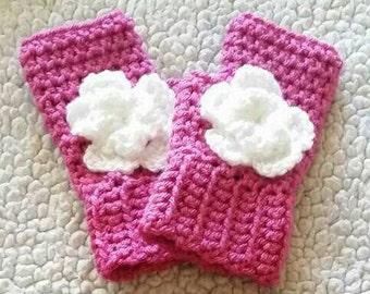 Crochet fingerless gloves with flowers, crochet wrist warmers, crochet hand warmers, gloves, gift ideas, handmade gifts