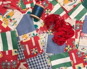 Vintage Quilt Squares Feedsack Fabric, Journaling, Scrapbooking, Dollhouse, Doll Making