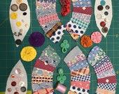 Vintage Wedding Ring Quilt Pieces Grab Bag, Feedsack Fabric, Journaling, Scrapbooking, Dollhouse, Doll Making