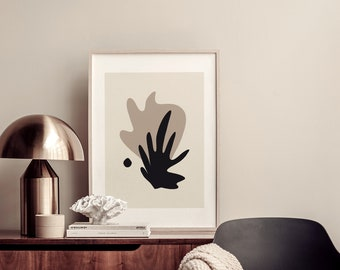 Printable Wall Art Print, Neutral Tones Poster, Modern Abstract Algae Shape Deco, Minimalist Design, Contemporary Artwork