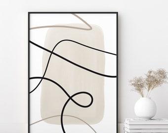 Printable Wall Art Print, Neutral Tones Poster, Modern Abstract Line & Watercolor Shape Deco, Minimalist Design, Contemporary Artwork