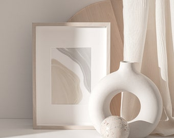 Printable Wall Art Print, Neutral Tones Poster, Modern Abstract Shape Deco, Minimalist Design, Contemporary Artwork