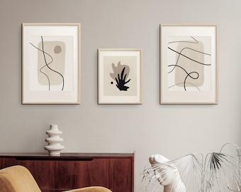 Set of 3 Prints, Abstract Lines & Watercolor Shapes, Printable Wall Art Design,  Neutral Tones Poster, Minimalist Artwork