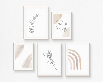 Printable Wall Art Designs, Set of 5 Gallery, Abstract Shapes, Eucalyptus Branches, Woman Face, Minimalist Prints, Neutral Tones (Set No.02)