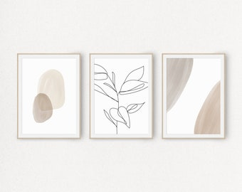 Set of 3 Prints, Printable Wall Art Designs with Watercolor Abstract Shapes and Leaf Branch, Neutral Tones Poster, Minimalist Artwork