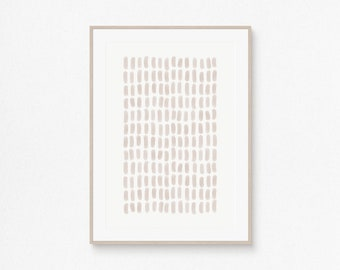 Printable Wall Art Print, Neutral Tones Poster, Modern Abstract Brush Strokes Shape Deco, Minimalist Design, Contemporary Artwork