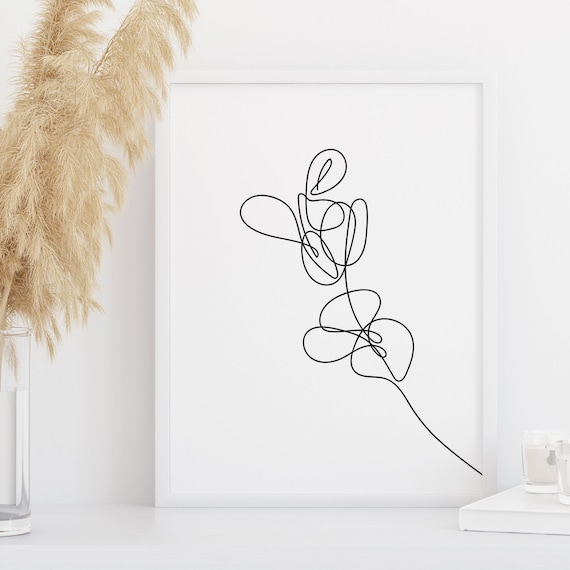 Contour Poster Botanical Sketch Artwork Printable Eucalyptus Wall Art Leaf Fine Line Drawing Set of 2 Prints Minimalist Design