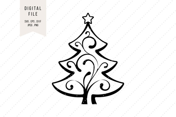 Svg Christmas Tree Clipart With Ornaments Holidays Instant Etsy