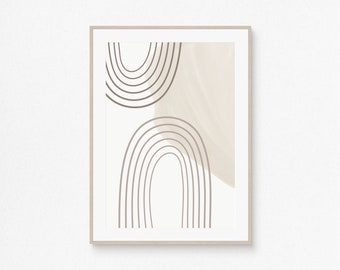 Printable Wall Art Print, Neutral Tones Poster, Modern Abstract Arch Shape Deco, Minimalist Design, Contemporary Artwork