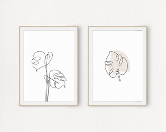 Set of 2 Prints, Printable Monstera Wall Art, Leaf Fine Line Drawing, Minimalist Design, Contour Poster, Botanical Sketch Artwork