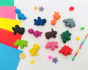 4 - 12 dinosaur shaped crayons, dinosaurs, novelty crayons, party bag fillers & favours, boys, kids gifts, toddler gifts, dinosaur party