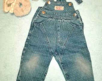 Vintage style overalls for babygirl or babyboy Made by Milou in Swiss Size 9-12 months