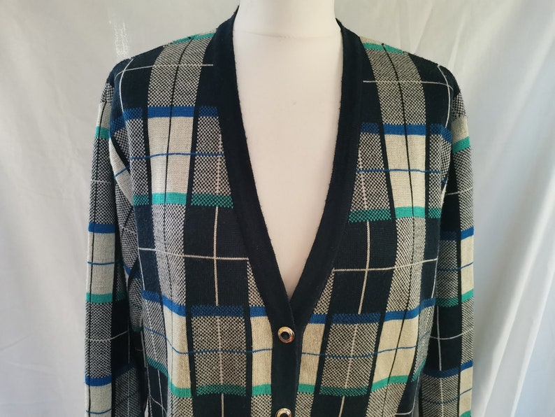 Vintage 90/'s Cardigan Sweater with Gold Buttons Checkered Blue white Old School Hipster Wool Jacket Women size Large