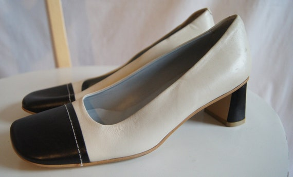 Vintage Black and White Leather Shoes