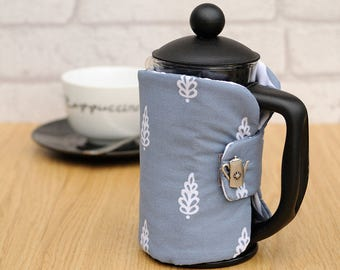 Small Padded Fabric 2 cup Cafetiere French Press Cosy housewarming coffee lover gift