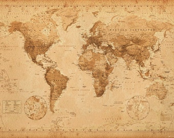 World Map Poster Etsy - Artsy world map poster