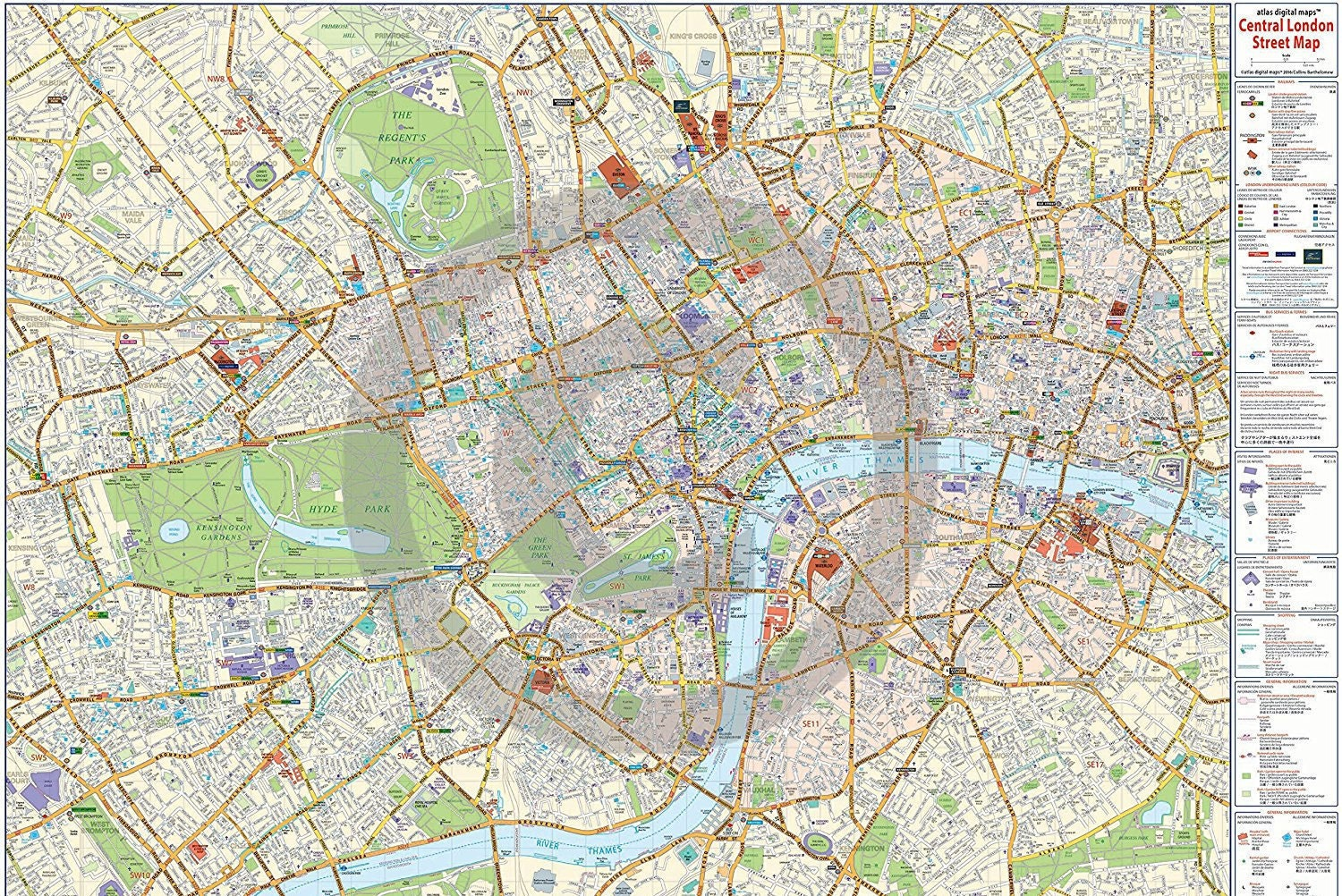 Street Map Of London City Centre.New 2017 Edition London Central Map Poster