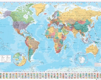 Political World Map With Polar Caps Poster