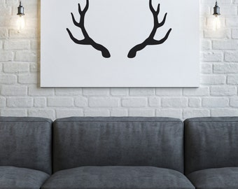 Antler Print, Black and White Art, Modern Art Print, Wall Art, Modern Decor, Digital Download, Black Antler Silhouette