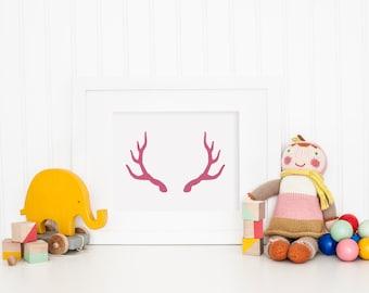 Asta la impresión, color de rosa para imprimir la impresión de arte de la pared, rosa asta impresión del arte, arte moderno, pared, decoración moderna, Digital arte, asta rosa silueta