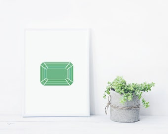 Green Geometric Gemstone Print - Emerald, May Birthstone Art, Modern Minimal Wall Decor, Instant Download Printable Artwork
