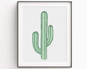 Succulent Cactus Art Print - Green - Art Print - Watercolor Cacti Art
