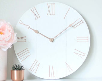 """15"""" Rose gold clock. Rose gold home decor. Wall art. Modern clock. Shabby chic. Rose gold. Wooden clock. Gift for her. BROOKLYN"""