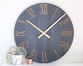Large wall clock - Navy gold - Mid century modern - Modern home decor - Unique gift idea - Neutral house love - 25 quot 30 quot Blayke in natural